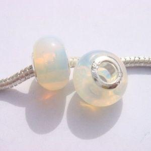 Lot of 2 opal glass large hole European beads .925